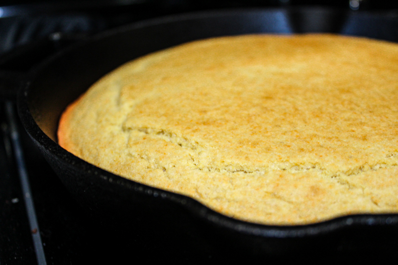 Gluten free and dairy free cornbread in a cast iron skillet