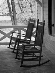 empty rocking chairs in motion