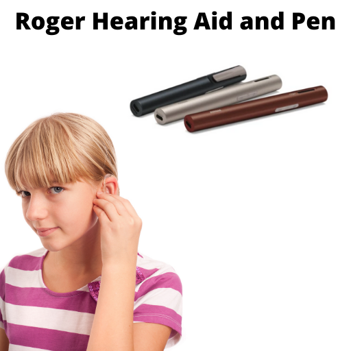 girl wearing a hearing aid and three roger hearing aid pens in the upper right hand corner with text across the top